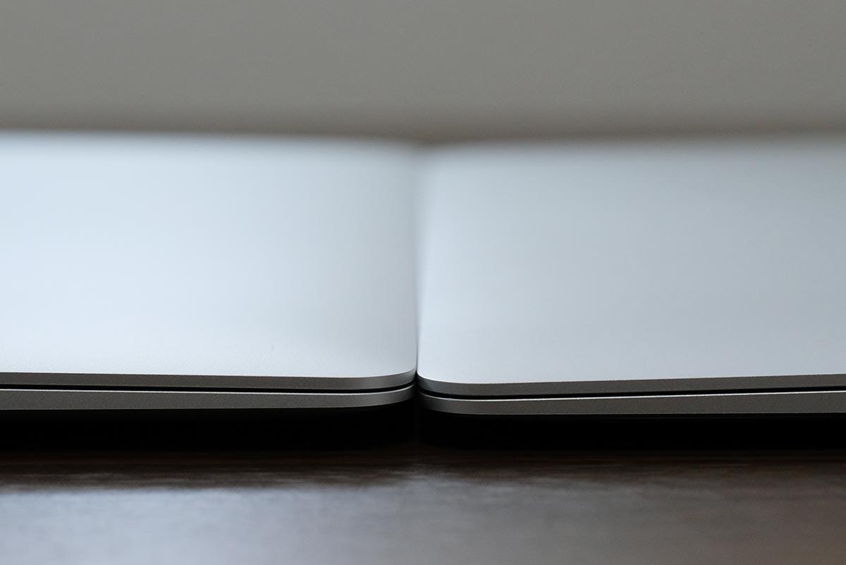 MacBook Airの先端の高さの違い
