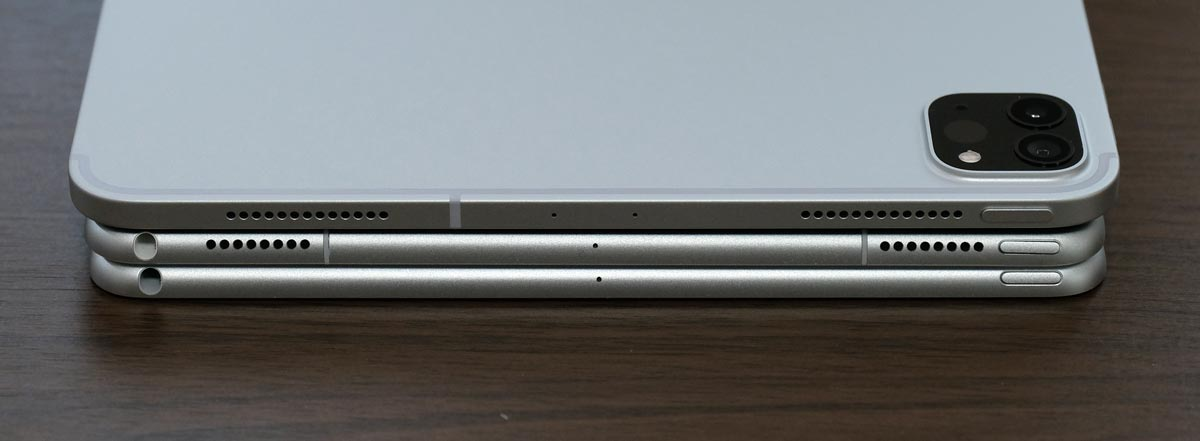 iPad Air・Pro 本体上部の比較