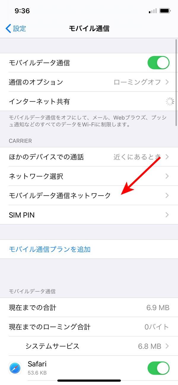 モバイルデータ通信ネットワーク