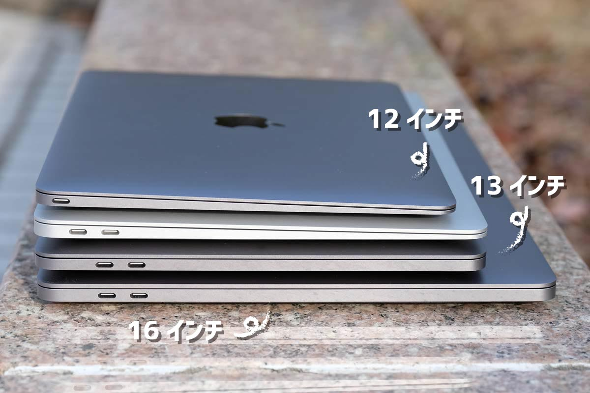 MacBookシリーズの本体大きさ