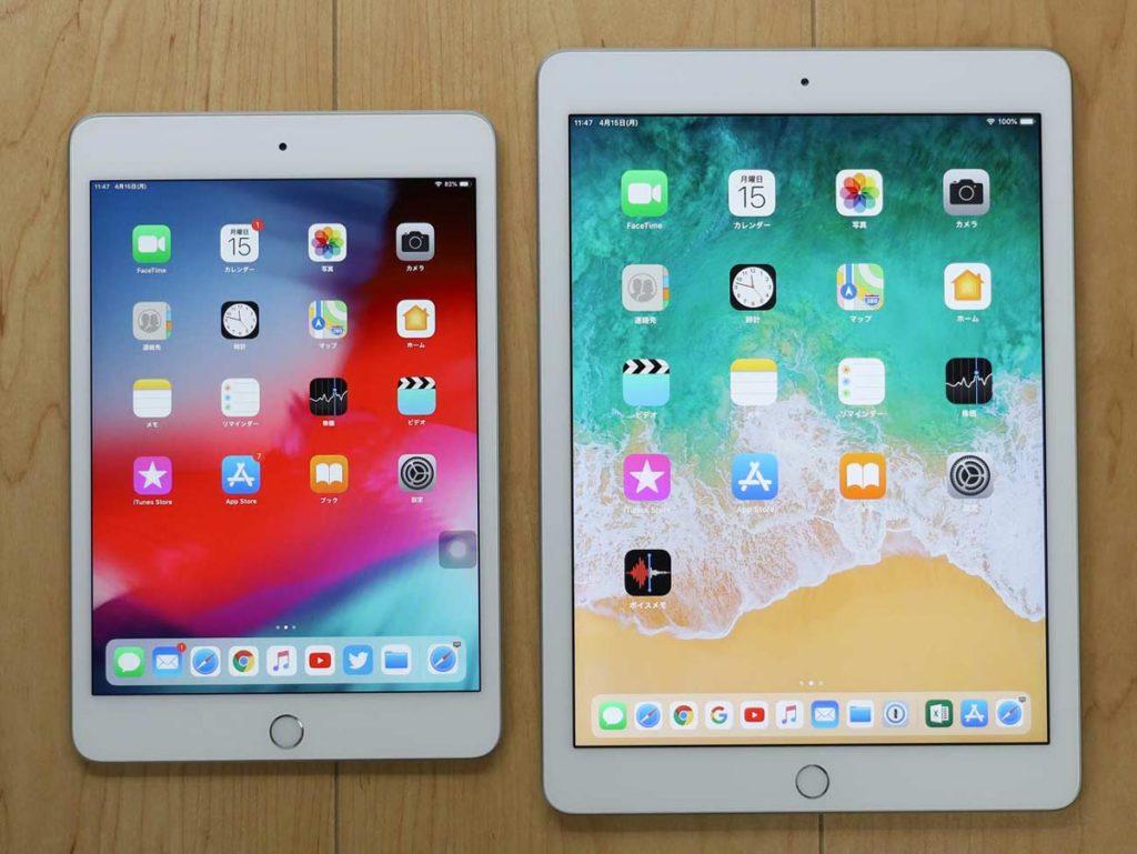 iPad miniとiPadのサイズ差の比較