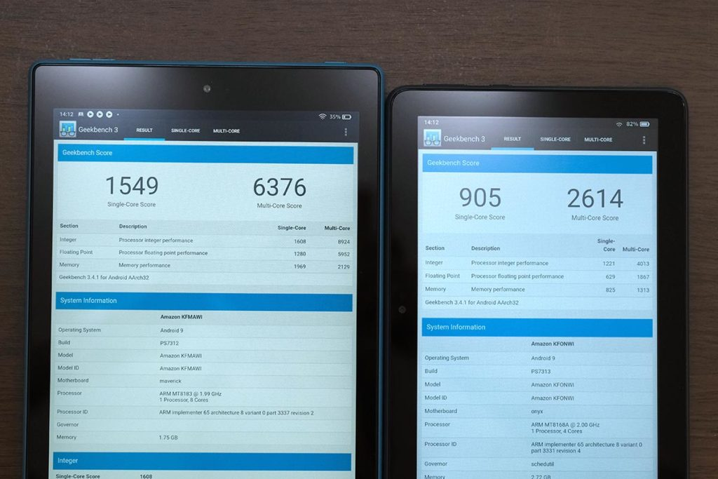 Fire HD 10 vs Fire HD 8 CPUの性能比較