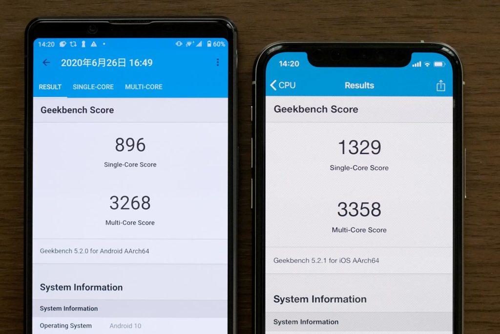 Xperia 1 Ⅱ・iPhone 11 Pro CPUの性能比較