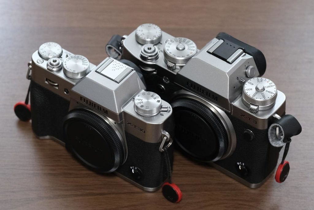 X-T30とX-T3のカメラボディのサイズ差