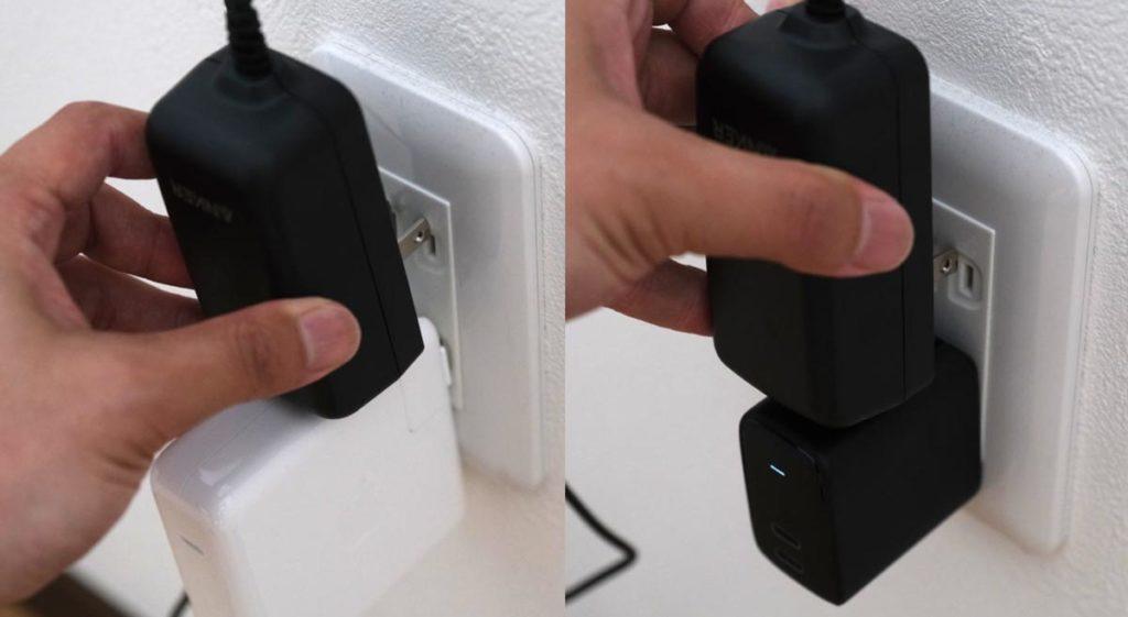 壁コンセントでは充電アダプタとの併用ができない