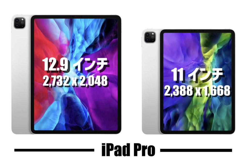 iPad Pro 12.9インチと11インチの画面サイズ比較