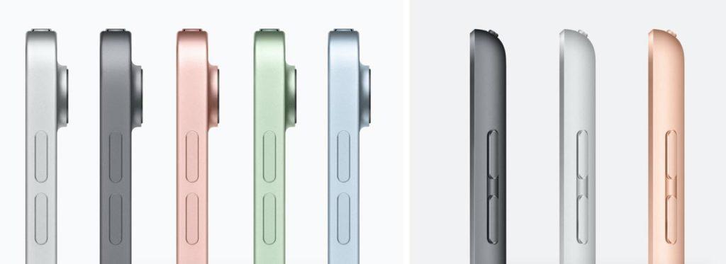 iPad Air 4とiPad 8のカラーラインナップ