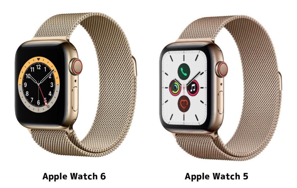 Apple Watch 6と5のゴールド比較