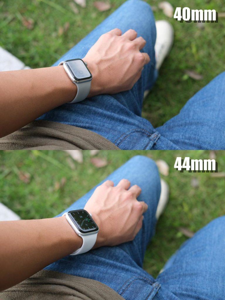 Apple Watch 40mmと44mmのサイズ差