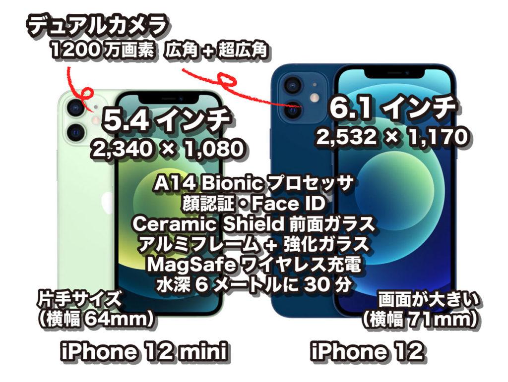 iPhone 12 mini・iPhone 12の比較