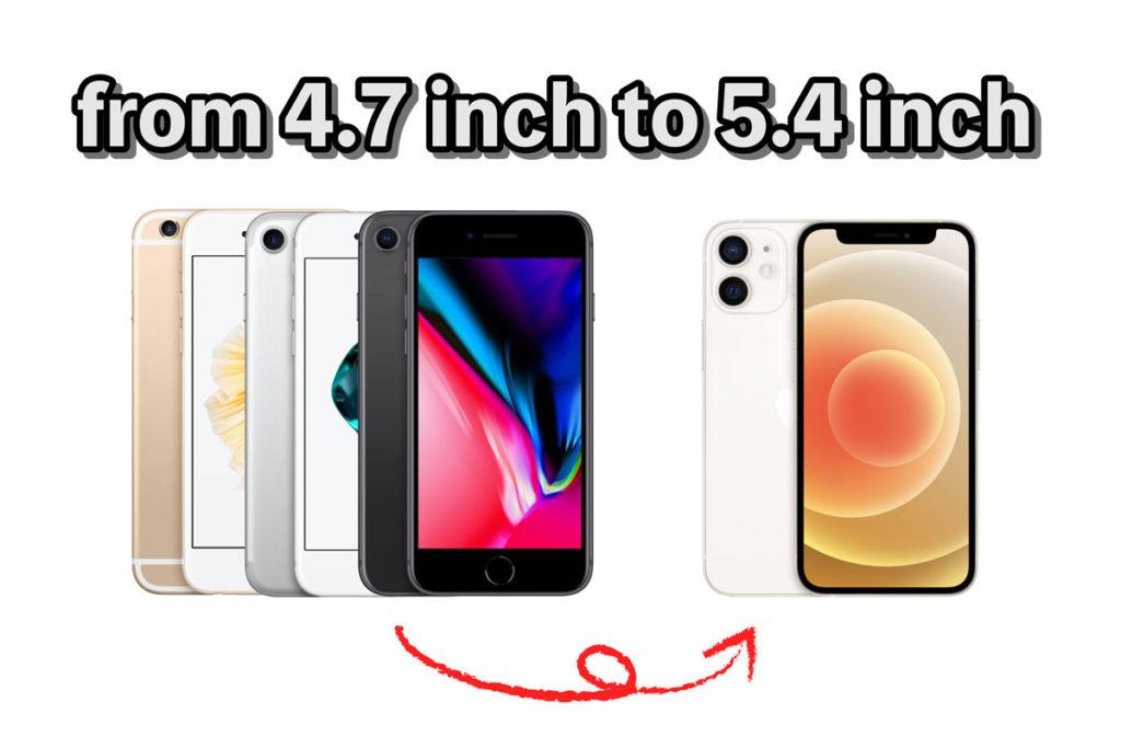 iPhone 4.7インチから5.4インチの乗り換える