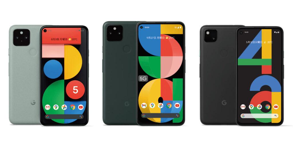 Pixel 5・Pixel 5a(5G)・Pixel 4a デザイン比較