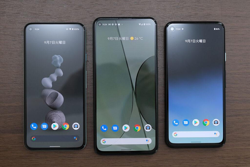 Pixel 5、Pixel 5a(5G)、Pixel 4aのディスプレイ