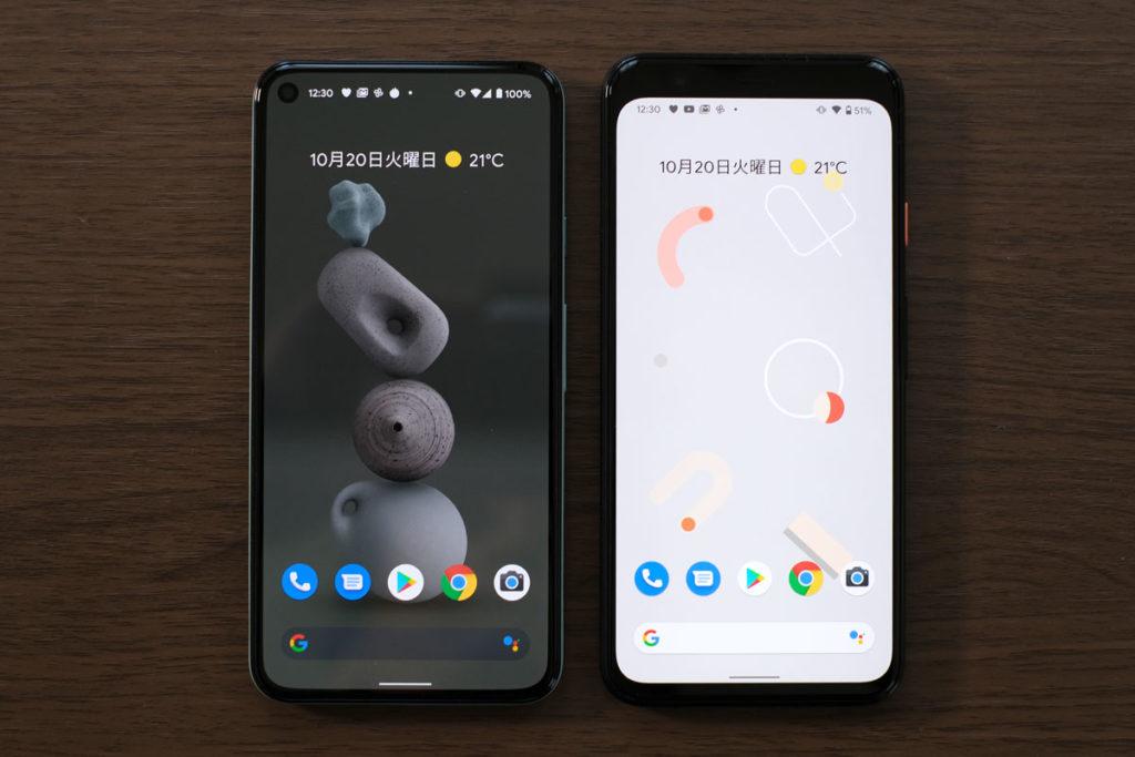 Pixel 5とPixel 4の画面サイズ
