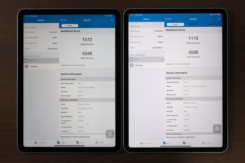 iPad Air 4とiPad Pro 11インチのCPU性能比較
