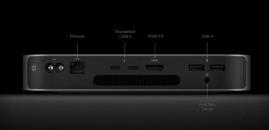 Mac mini(M1)外部ポート