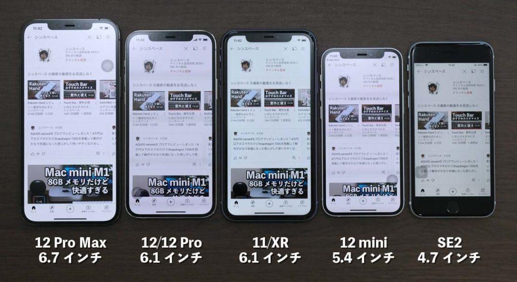 iPhoneシリーズ YouTube 表示領域比較