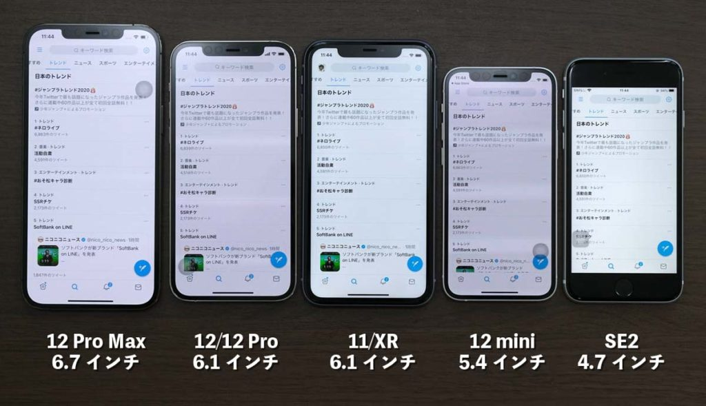 iPhoneシリーズ Twitter 表示領域比較