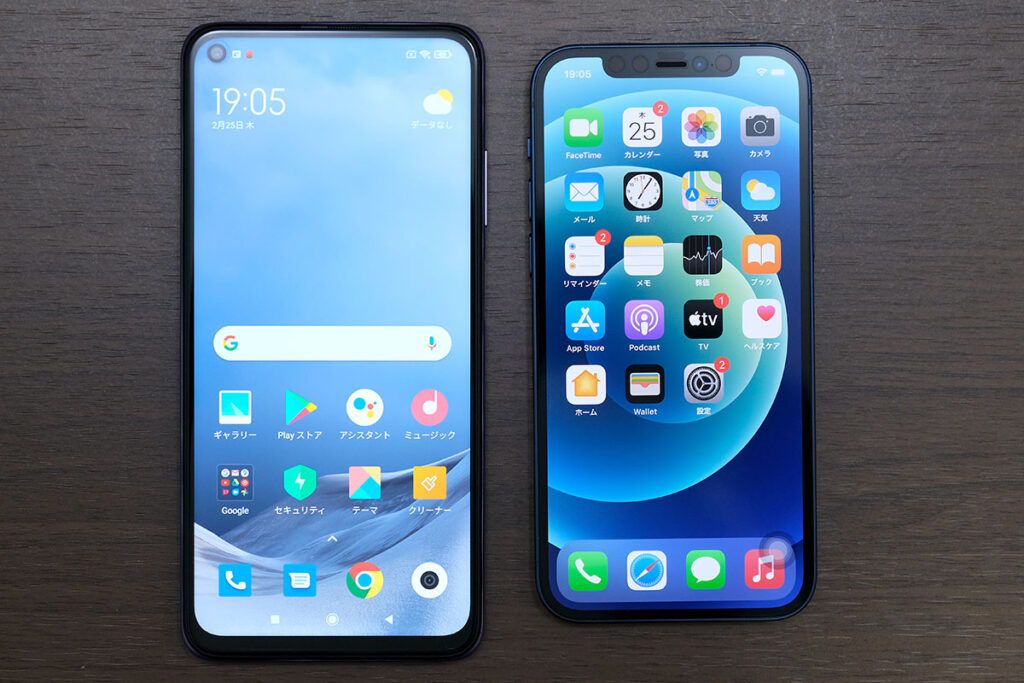 Redmi Note 9T 5GとiPhone 12