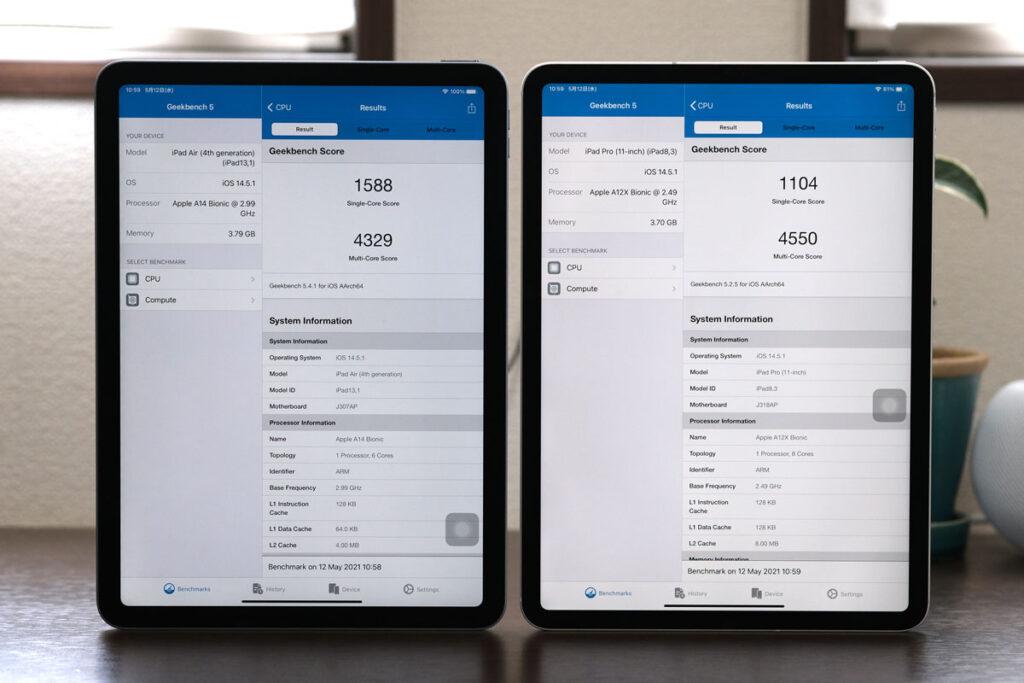 iPad Air・iPad Pro 11インチ(第1世代)のCPUの性能