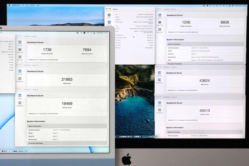 iMac 24インチ Geekbench 5のスコア