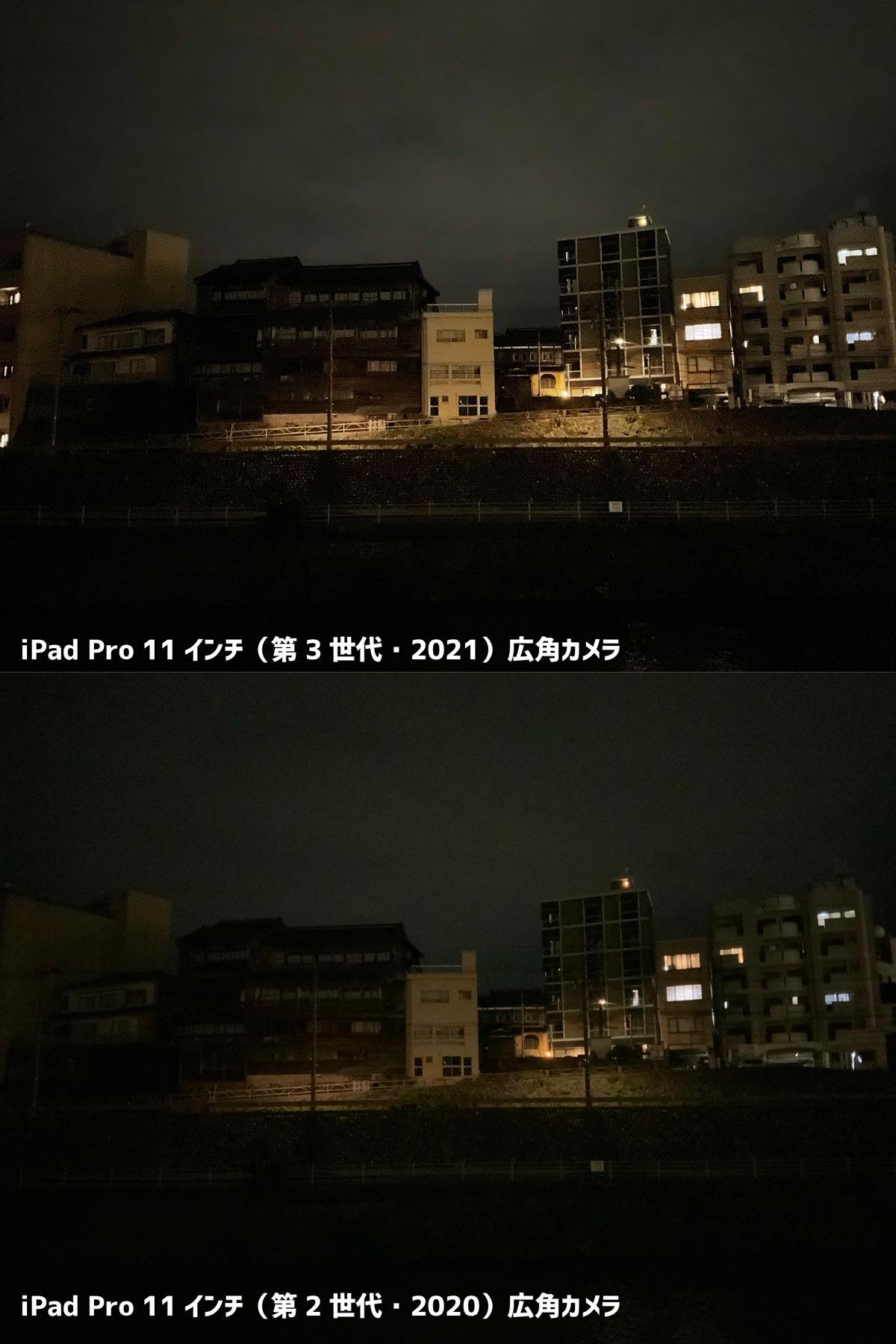 iPad Pro 11インチ(第3世代)広角カメラ夜間撮影