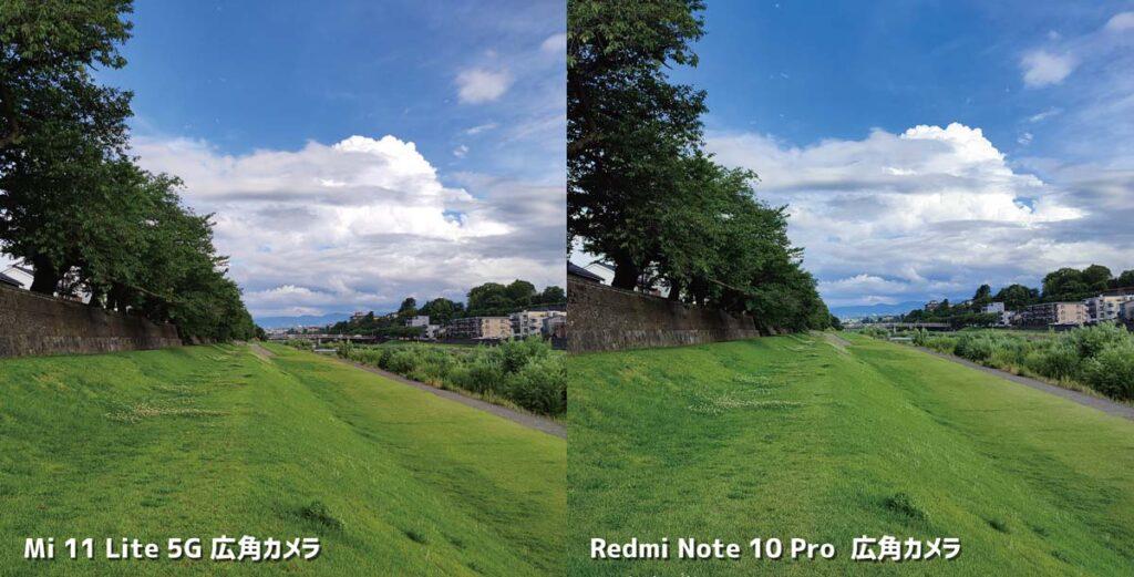 Mi 11 Lite 5GとRedmi Note 10 Pro 広角カメラ比較