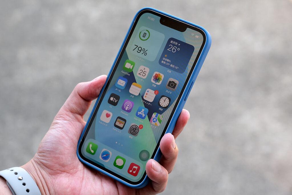 iPhone 13 + シリコンケースのサイズ感